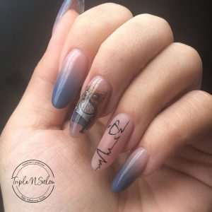 owl and coffee nails with blue ombre nails
