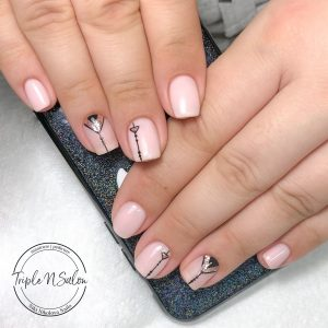 Light pink with gold glitter and black lines art
