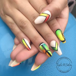 Neon abstract nails in london. long mobile acrylics
