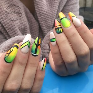 neon nail art on acrylic extensions