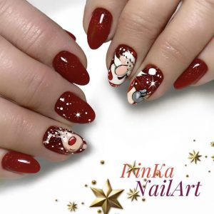 Santa claus cartoon nail art
