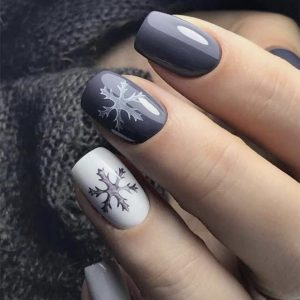 snowflake grey nail design