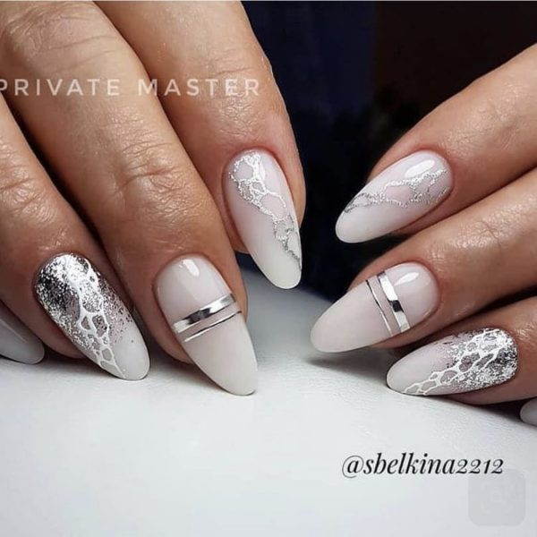 white ombre nails with silver glitter nail design in london