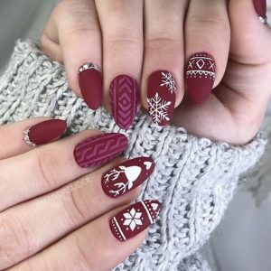 red simple burgundy christmas nails