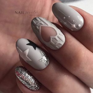 grey christmas knitted nail art in london