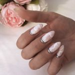 marble quartz with glitter festive nails in london