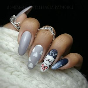 cute cat christmas nail art