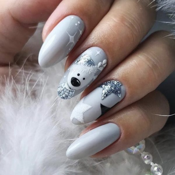 grey bear christmas nail art in london