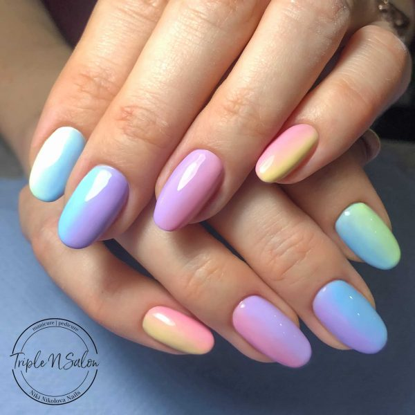 rainbow pastel nails in london mobile beauty