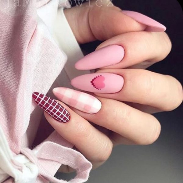 pink st valetine london nails