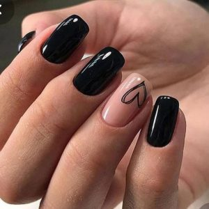 black nails with hearts design