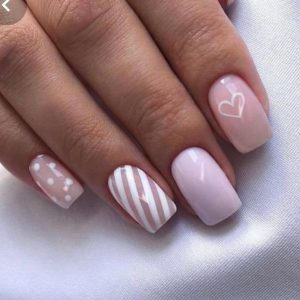 nude heart nail design