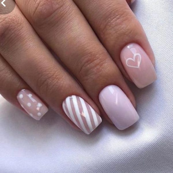 simple valentines day nails in london - nude hearts easy nail design