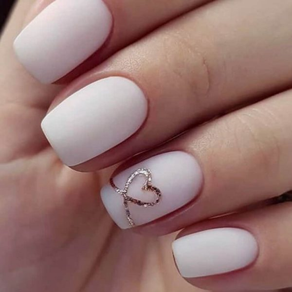 delicate st valentines nails matte pink nude rose gold london nails nail art valentine's day