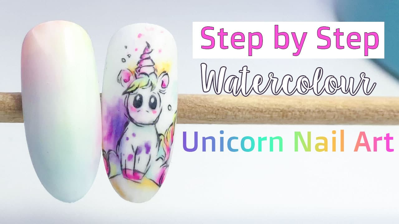 Fast and Easy Unicorn Nail Art | Watercolour Effect Tutorial